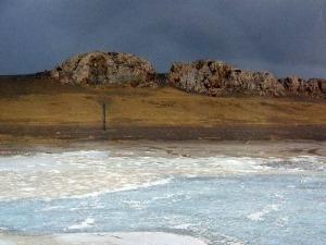gefrorener Fluss in Tibet