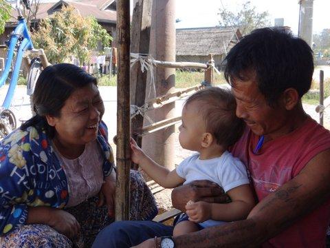European baby meeting the locals of Myanmar