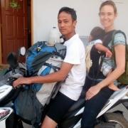 On a motorcycle backpacking Myanmar baby