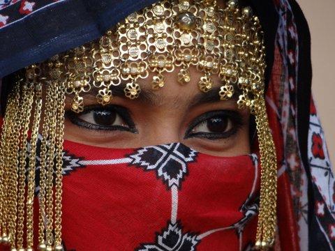 Gesicht von verschleierter Frau Oman