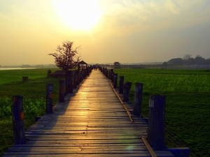 U-Bein-Bridge at sunset, Learn English Online via Skype